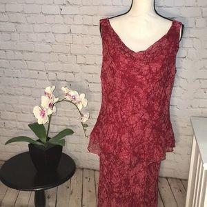 ECI silk sleeveless blouse and skirt